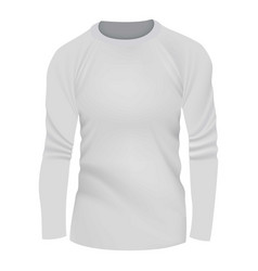 White tshirt long sleeve mockup realistic style vector