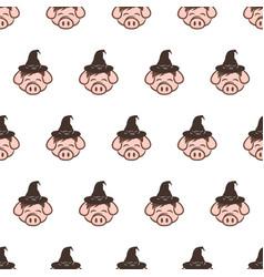wizard pig pork bacon theme cartoon seamless vector image