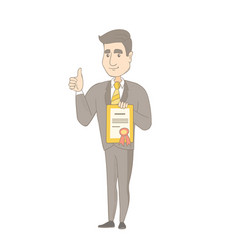 young caucasian businessman holding a certificate vector image