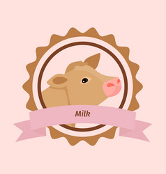 beige cow head milk label vector image vector image