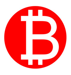 bitcoin sign white icon in red circle on vector image