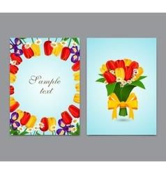 Flowers background bouquet tulips vector image vector image