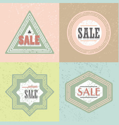 geometrical retro textured shapes sale emblems set vector image vector image