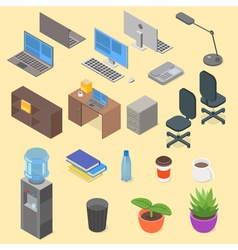 Isometric set of office object vector image