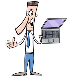 man presenting notebook vector image