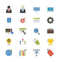 SEO Development Flat Icons color vector image
