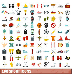 100 sport icons set flat style vector image vector image