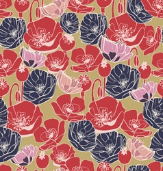 beautiful poppy flowers pattern background vector image vector image