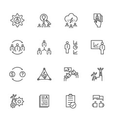 business icons set team building concept vector image