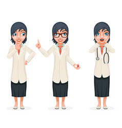 cute surprised female doctor pill medicine hand vector image vector image