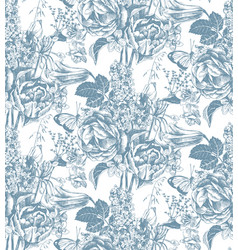 seamless pattern with hand drawn garden flowers vector image vector image