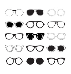 Sunglasses collection silhouettes vector image