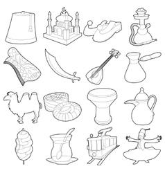 Turkey travel symbols icons set outline style vector