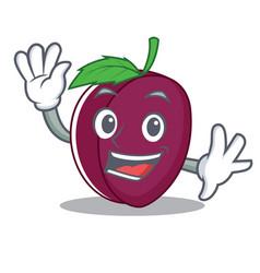 waving plum character cartoon style vector image vector image