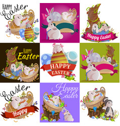 Basket decorated easter eggs on green grass for vector