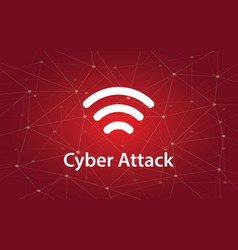 cyber attacks white text with vector image vector image