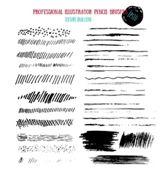 Pencil grunge brushes Abstract hand drawn art ink vector image