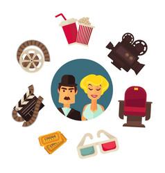 retro cinema movie poster flat vector image vector image