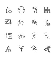 business icons set team building concept vector image vector image