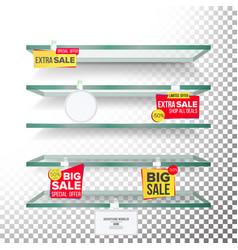 empty supermarket shelves wobblers price vector image vector image