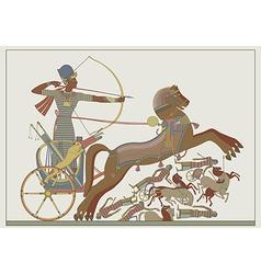 Fresco of the pharaoh Ramses in a battle vector image