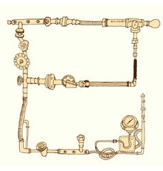 Hand-drawn frame decorative style steam punk vector image vector image