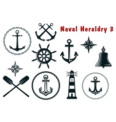 Naval heraldry icons set vector image