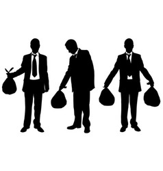 set of people holding garbage bags vector image vector image