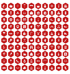100 family tradition icons hexagon red vector