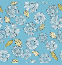 a fun floral repeat print pattern in blue and vector image