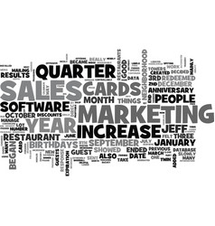 A increase in sales after text word cloud concept vector