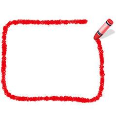 A red crayon message frame vector