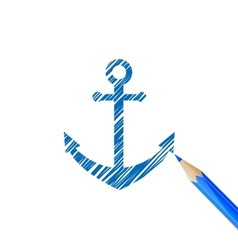 Anchor drawn with blue pencil vector image