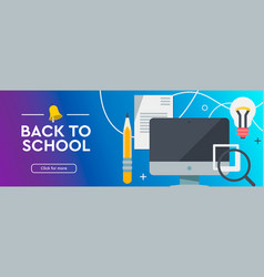 back to school education online learning flat vector image