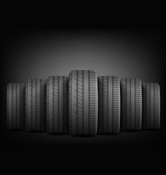 black rubber tires standing in row line on vector image