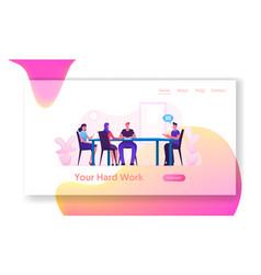 Board meeting in office website landing page vector