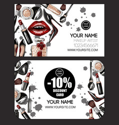 Business and discount card for makeup artist vector