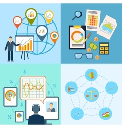 Business chart icon flat composition vector image vector image