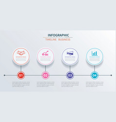 Business infographics template 4 data with circle vector