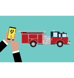 call calling firefighters someone hold phone and vector image