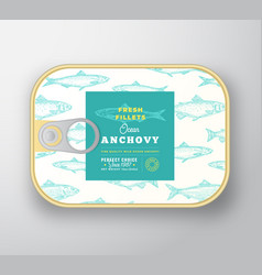 Canned fish label template abstract fish vector