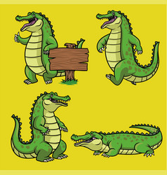 Cartoon crocodile character in set vector