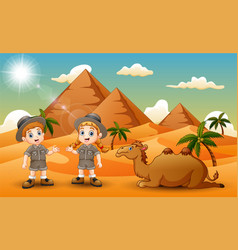 Cartoon of two kids herding a camel in the desert vector