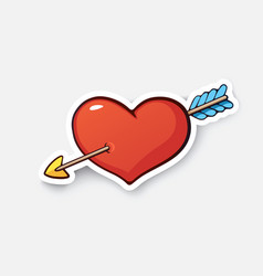 cartoon sticker heart and arrow vector image