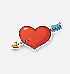 Cartoon sticker heart and arrow vector