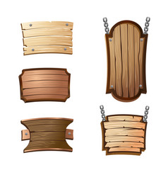 cartoon wooden signboards vector image