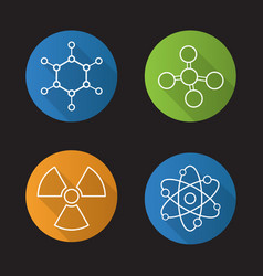 chemistry and physics flat linear long shadow vector image