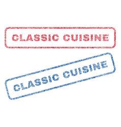 Classic cuisine textile stamps vector