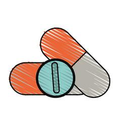 color crayon stripe cartoon capsules and circular vector image