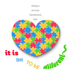 Colorful jigsaw heart on white background autism vector
